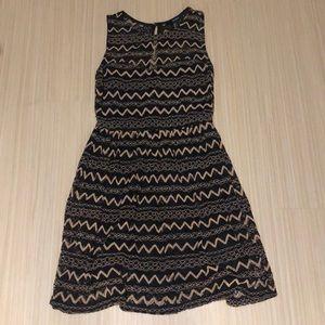 Black and Tan zig zag dress